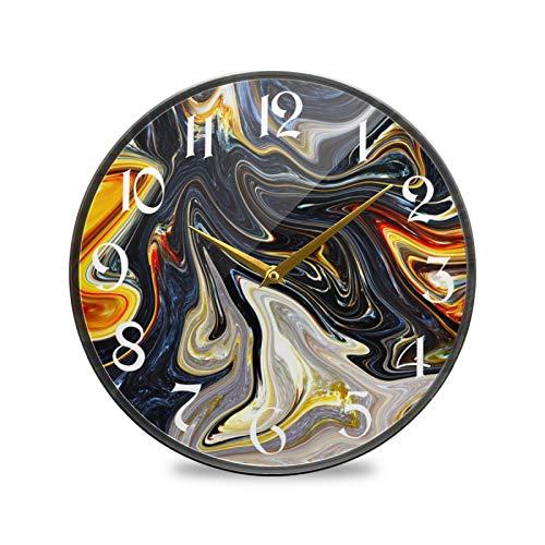 ART VVIES Reloj de Pared Redondo de 12 Pulgadas Que no Hace tictac silencioso Funciona con Pilas Oficina Cocina Dormitorio decoración del hogar-mármol Negro Dorado