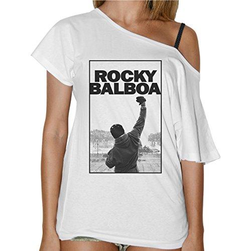 Camiseta para mujer cuello barco  Rocky Balboa, con motivo del poster de la película de boxeo. Blanca