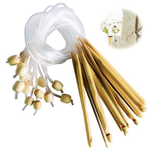 12 Piezas Ganchillos de Crochet de Tunecino Set Agujas Ganchillo Juego de Ganchos de Ganchillo de Plástico para Tejer Muchos Patrones Incluidos Tapetes de Flores de Encaje Y Ropa de Bebé