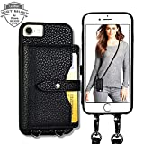 Wallet Case for iPhone 6/7/8/SE 2020,JUST Must 4 Credit Card Holder Leather Case with Detachable Crossbody Strap for Women Card Case