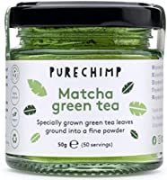 Matcha Green Tea Powder 50g(1.75oz) by PureChimp | Ceremonial Grade from Japan | Pesticide-Free | Recyclable Glass Jars...