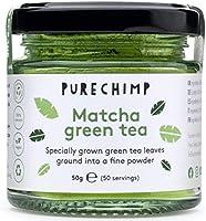 PureChimp Matcha-theepoeder, 50 g, ceremoniële kwaliteit uit Japan, vrij van pesticiden, recyclebare glazen pot en...