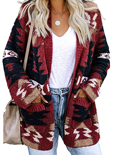 Sidefeel Women Printed Open Front Popcon Fuzzy Knit Cardigan with Pockets XXL Red