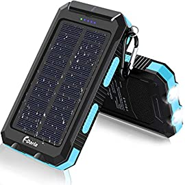 Solar Charger, F.Dorla 20000mAh Portable Outdoor Waterproof Solar Power Bank, Camping External Backup Battery Pack Dual 5V USB Ports Output, 2 Led Light Flashlight with Compass (Blue) 7 <p>【High Quality】 Made of durable and reliable ABS+PC+Silicone material it protects it from rain, dirt and shock/drops. Featured with a compass and 2 bright Led flashlights it is awesome for outside activities such as camping, hiking and other emergency uses. 【Compatible with Multiple Devices】 Compatible with all smartphone, Tablet, and other USB devices. Auto-detect your devices' current to pair the optimal output. Solar Charging Travel Power bank with Flashlight / Carabiner, Very reliable and durable, Solar phone charger provides more convenience in your daily life or on your trip. 【Smart Express Charge】 The solar powered charger has dual USB. Makes it easy to charge two smartphones simultaneously or a tablet at full speed . Intelligent security protection, avoid over-current, over-voltage, over-load and short circuit, etc. Five pilot indicators indicate the status of battery charger. Green light on when charging by solar, blue light on when USB charging. 【USB and Solar charging】The Solar charger powerd by 5V/1.6A adapter or solar. Due to these variations in sunlight intensity and the solar panel conversion rate, it may take a long time to charge the battery bank using the solar panels. The primary way to charge the battery bank is by USB and only use solar charging feature in an emergency. 【Best service】 We provide lifetime free technology service, and any questions about the product will be replied to within 24 hours. Note: Please fully charge it by USB cable before traveling or hiking.</p>