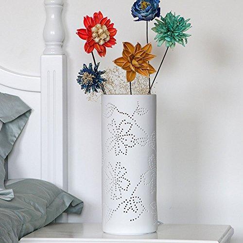 Tafellamp creatieve slaapkamer bedlampje eenvoudige moderne IKEA Nordic Warm romantische bloemenarrangementen keramiek wit tafellamp decoratie D