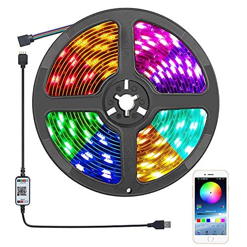 Tiras LED 5M Impermeable, Damtong Bluetooth USB Tiras Luces LED, Control APP RGB Sincronización de Música Tira LED, Para Sala Estar, Cocina, Navidad, Bar, Fiesta, Decoración.