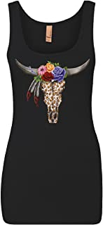 Tee Hunt Cow Skull with Flowers Women's Tank Top Floral Dreamcatcher Tribal Bull Top