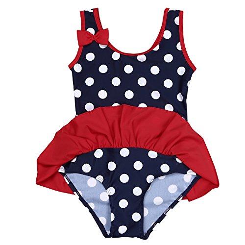 TiaoBug Baby - Mädchen Einteiler Badeanzug UV-Schutz Bikini Polka Dots Bade Bekleidung Schwimmanzug 62 68 74 80 86 92 98 Marineblau 86