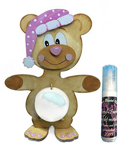 Petra's Bastel News Bastelset Leucht-Teddy als Spardose oder Nachtlicht verwendbar inkl. Acrylkugel und Satinierfarbe (ca. 23cm), Holz