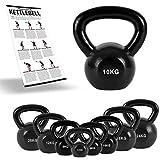 MSPORTS Kettlebell Professional Iron 2 – 30 kg inkl. Übungsposter Kugelhantel (10 kg)