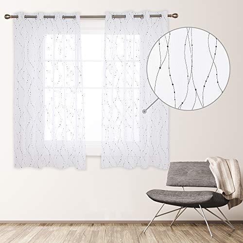 Deconovo Cortinas Visillos Dormitorio Moderno Diseño Hilos Negro Caliente Decoración Hogar, 100% Poliéster, 135 x 180 cm