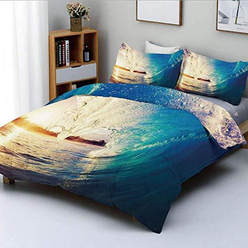 Juego de funda nórdica, Sunrise on Waves Surfer Perspective Surreal Coastal Charm Sports Lifestyle Scene Juego de cama decorativo de 3 piezas con 2 fundas de almohada, Azul malva pálido, el mejor rega