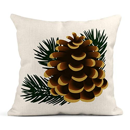 485 Cushion Covers Home Decor Pillow Case 45x45cm Personalized Pillow Covers Brown Cone Single Pinecone And Twigs Of Pine Tree White The Green Cedar Branch Pillow Covers