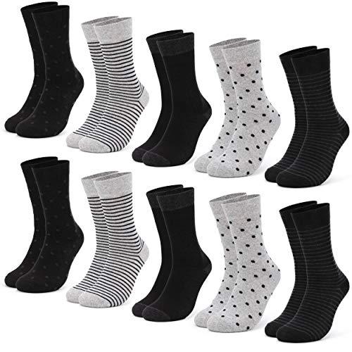 Occulto 10 Paar Damen Socken aus Baumwolle Punkte und Streifen Baumwollsocken Sneakersocken (39-42, Schwarz)