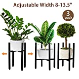 PHUNAYA 3 Pack Adjustable Plant Stands,Mid Century Metal Planter Stand Fit Width 8 10 12 13.5 Inch Pots,Free Tall & Low Plant Pot Holder,Modern|Black|Indoor|Outdoor|Set of 3|