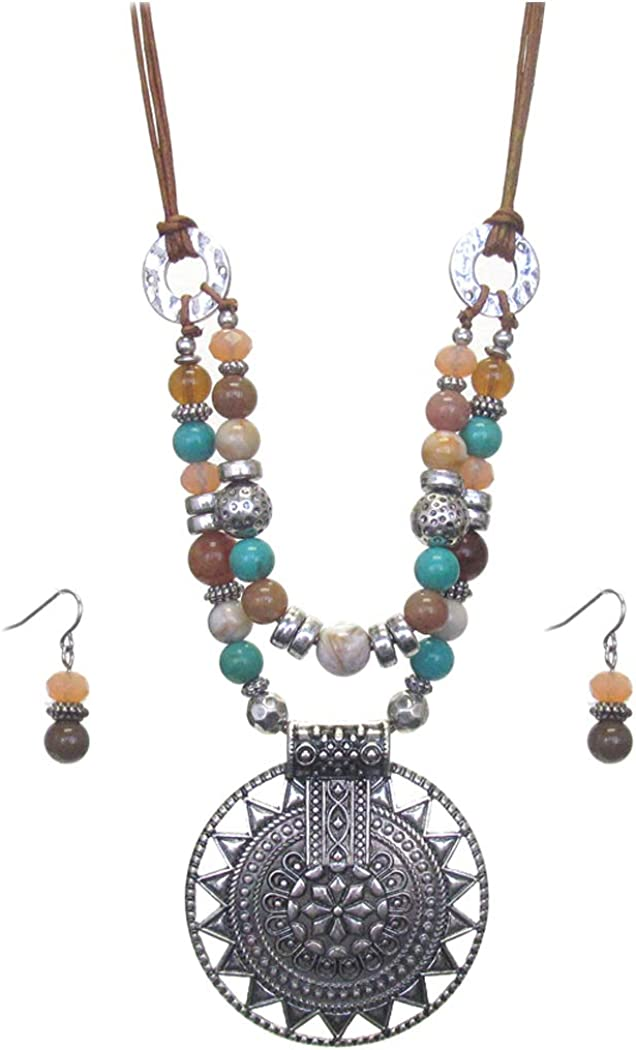 Fashion Jewelry ~ Aztec Pattern Disc Mix Beads Stat Pendant with Manufacturer New York Mall OFFicial shop