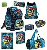Familando Transformers PL - Juego de mochila y accesorios escolares (8 piezas, incluye estuche,...