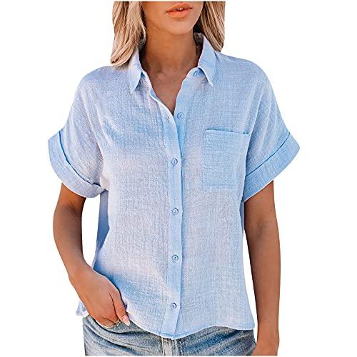 AMhomely Camiseta de verano para mujer, color liso, algodón y lino, manga corta, con botones, talla grande, elegante, talla Reino Unido