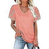 Camiseta de Mujer, Encaje, pétalos, Camiseta de Manga Corta, Cuello en V Suelto de Verano, Camisa Casual, corsé Superior Suelto Casual de Color sólido, Moda Suelta y Jersey Informal