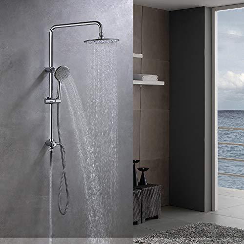 Lonheo 304 Edelstahl Duschset Regendusche ohne Thermostat, 3 Funktionen Dusche Duschsystem mit Rund Kopfbrause(Ø 220mm), Handbrause 3 Strahlarten und Höhenverstellbare Duschstange