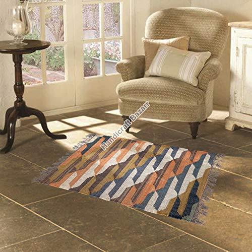 Handicraft Bazarr Alfombra de yute natural hecha a mano de yute plano Dhurrie, estilo vintage, alfombra de piso de 2 x 3 pies, alfombra étnica de yute, alfombra Kilim, alfombra para sala de estar