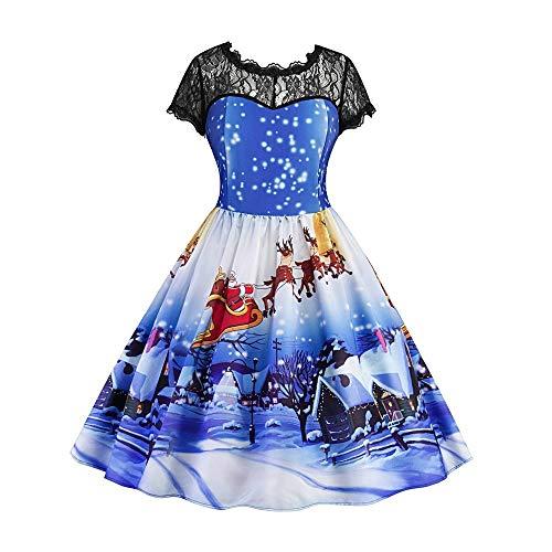WAOTIER Vestido de encaje para mujer, estilo vintage, con estampado floral, estilo vintage, estilo rockabilly Swing