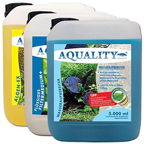 AQUALITY 3er Starter- & Pflege-Sparset 5000 (GRATIS Lieferung innerhalb Deutschlands - Aquarium Algenvernichter, Wasseraufbereiter, Filtermedium in einem Set)