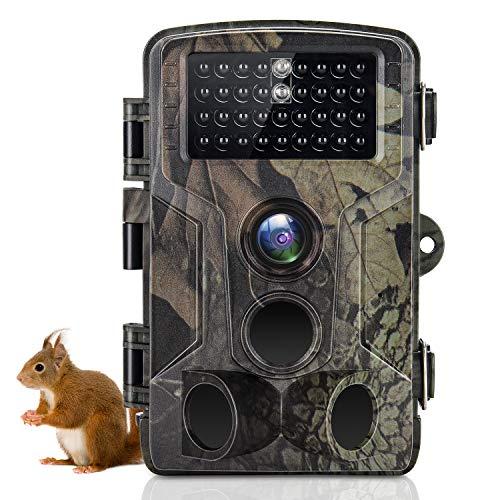 SUNTEKCAM Fotocamera Caccia Fototrappola 24MP 2.7K per visione notturna a infrarossi Rilevatore di movimento IP66 antipolvere Telecamera grandangolare 120 ° con scheda di memoria 8G HC-802