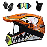UIGJIOG Mountainbike Helm Kinder,Kids Motocross Helmet D.O.T Certified Shark Helmet Multicolor with Goggles Gloves Motocross Helmet Mountain Bike Full Face Set,Orange