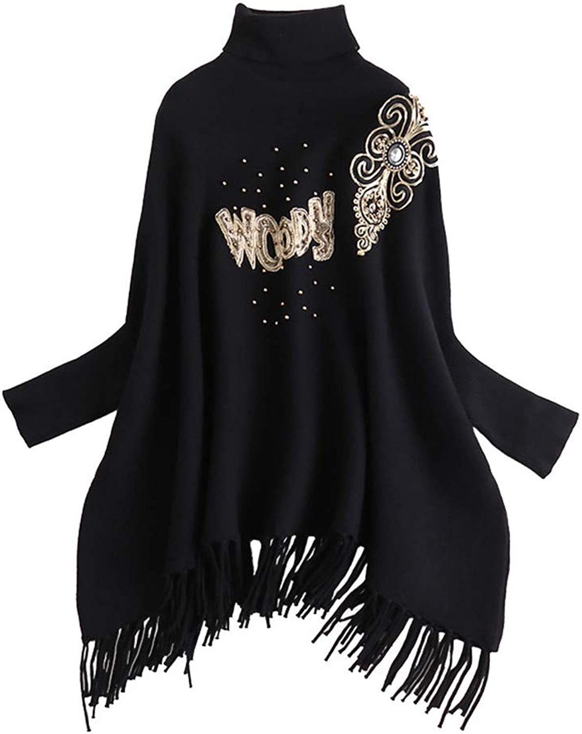 Womens Cape Poncho Coat Ladies Batwing Sleeve High Collar Sweater Tassel Knitting Shawl Wrap Poncho Long Sleeve Top Blouse Cardigan Cloak Jacket for Winter Cocktail (color   Black, Size   L)