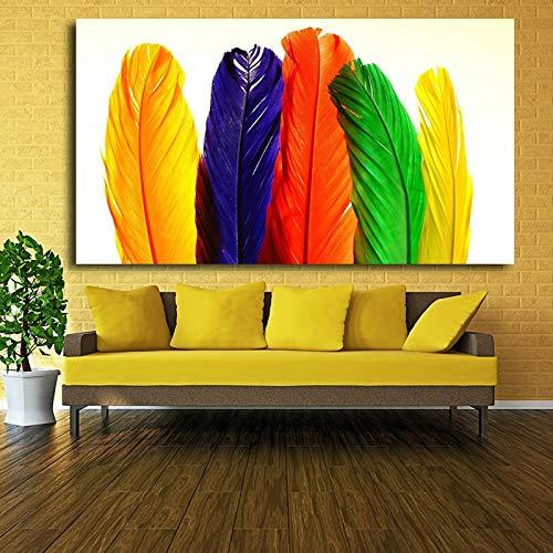 Rahmenlose Malerei Wohnkultur Moderne Leinwand Wandkunst Farbe Ölgemälde Feder Bild auf Leinwand SchlafzimmerCGQ8792 30X52cm