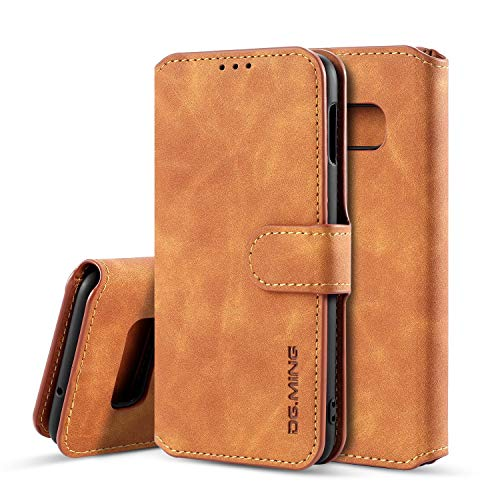 UEEBAI PU Leather Case for Samsung Galaxy S7 Edge, Vintage Retro Premium Wallet Flip Cover TPU Inner Shell [Card Slots] [Magnetic Closure] Stand Function Folio Shockproof Full Protection - Brown