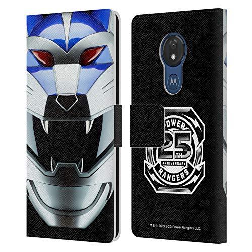 Head Case Designs sous Licence Officielle Power Rangers Loup Lunaire Sauvage Force Casque célèbre Coque en Cuir à Portefeuille Compatible avec Motorola Moto G7 Power