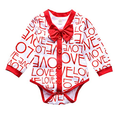 Baby Boys Valentine's Day Outfit Toddler Boy Love Print Romper Gentleman Bowtie Bodysuit 2Pcs Clothing Set (Red 2, 12-18 Months)