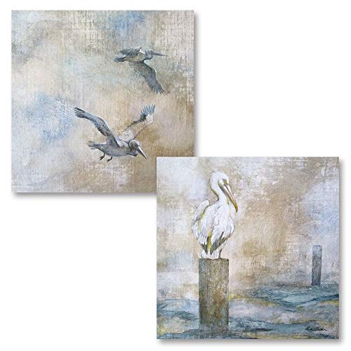 Lovely Watercolor-Style Ocean Pelican Set; Coastal Decor; Two 12x12in Poster Prints