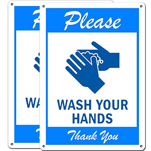 (2 Pack) Please Wash Your Hands Sign, Wash Your Hands Sign, UV Printed & Waterproof .040 Mil Rust Free Aluminum 10' x 7' Indoor Or Outdoor Use, Metal Reflective, Bathroom Signs, Covid Signs for Businesses