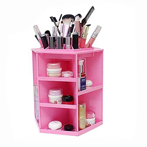 jecxep Makeup Organizer grande capacità cosmetici acrilico/rotante a 360° girevole trucco organizzatore/Cosmetici Storage Case Rosso