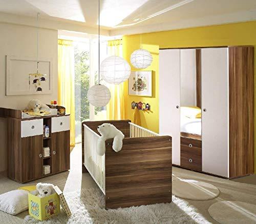 Wiki Babyzimmer Kinderzimmer Babymöbel komplett Set 2 in Walnuss/Weiß