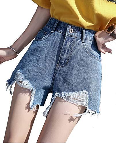 Damesshorts met halfhoge taille, shorts met wijde pijpen, jeans met versleten zoom,XXL