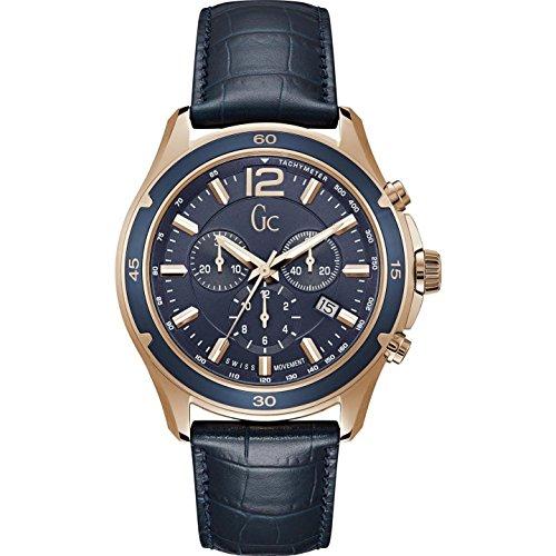 GC Gc Alumination Reloj de hombre cuarzo 44mm correa de cuero Y26001G7