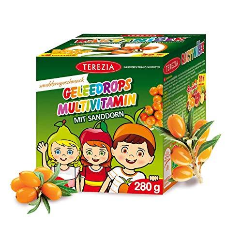 TEREZIA Multivitamine Original Saddorn Gelee-Drops/Gummibärchen für Kinder, enthaltet Sanddorn und 9 verschiedene Vitamine. Ohne jegliche chemische Zusatzstoffe, Konservierungsmittel und Farbstoffe