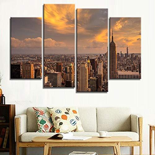 ANTAIBM® 4 Visuelle Fotos der Inneneinrichtung Holzrahmen - verschiedene Größen - verschiedene Stile4 Stück HD Gedruckt Brooklyn Manhattan York Malerei Kinderzimmer Dekor drucken Poster Bild Leinwand