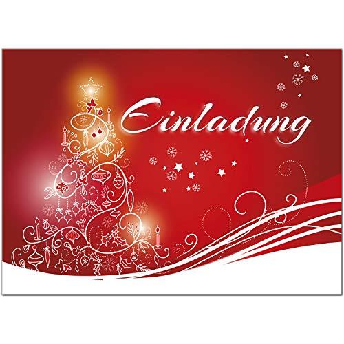 15 x Einladungskarten mit Umschlag zur Weihnachtsfeier/Motiv: rot modern für Weihnachtsfeiern/Weihnachten/Christmas Party/Einladung/für Firmen