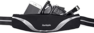 runtopia Running Belt with Reflective Stripes, Water Proof Surface and Super Elastic Waist Strip, Night Running Belt with a Large Capacity for iPhone 6 7 8 X Plus