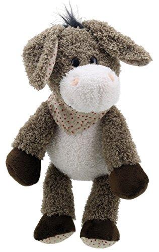 Lashuma Kuschel Esel mit Halstuch, Stofftier Eselchen Grau - Creme, Flauschiges Schlenkertier Plüschtier 28 cm