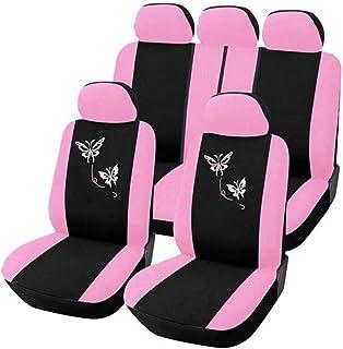 Funda De Asiento Para El Automóvil, Funda De Asiento Bordada Con Mariposa Rosa Para Mujer, Compatible Con Airbag, La Mayoría De Las Camionetas SUV O Van,Rosado