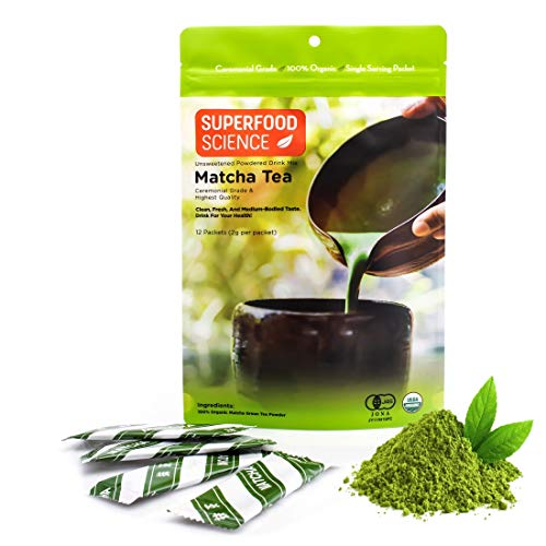 Superfood Science Ceremonial Matcha Packets, USDA Organic Japanese Matcha Green Tea Powder Packets, 12 Individual On The Go Single Serve Stick Packs