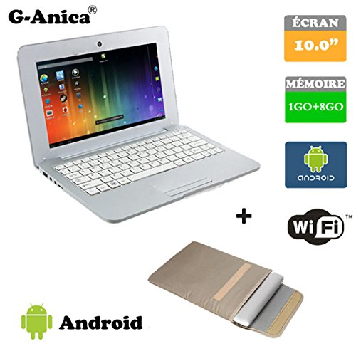 G-Anica Netbook HDMI 10.0 Zoll (WiFi, 1.5GHz RAM 1GB, 8GB ) Tablet-PC Google Android 4.4.2- Silber+ Laptop-Tasche