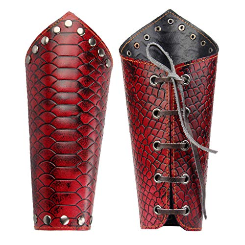 JAOYU Men Leather Bracers Arm Armor Cuff Gauntlet Wristband Wide Leather Cuffs Skull Jewelry for Women, Boys, Teenager Gifts