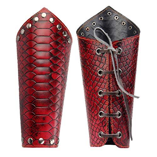 JAOYU Men Leather Bracers Arm Armor Cuff Gauntlet Wristband Wide Leather Cuffs Skull Jewelry for Women, Boys Punk
